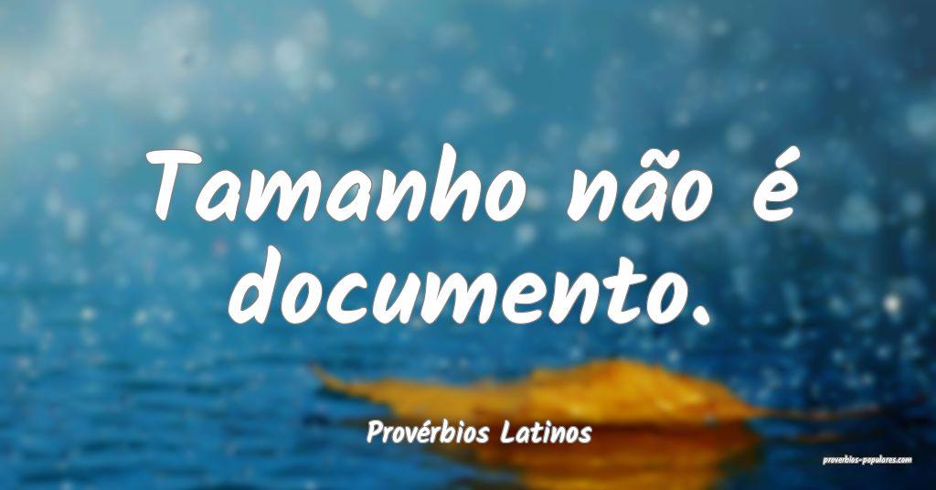 Provérbios Latinos - Tamanho não é documento.   ...