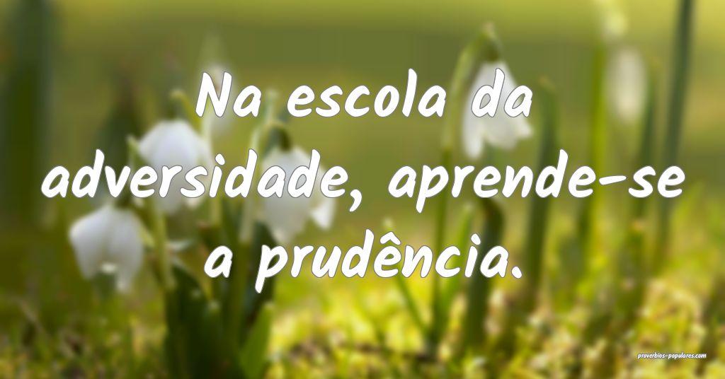 Na escola da adversidade, aprende-se a prudência. ...