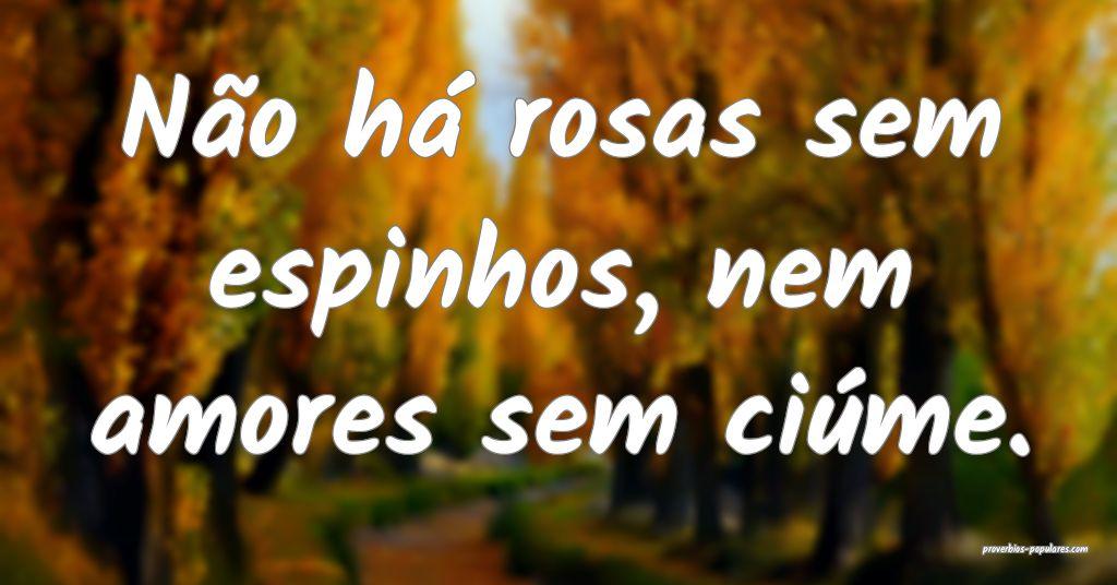 Não há rosas sem espinhos, nem amores sem ciúme ...
