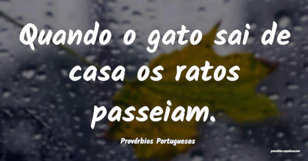 Provérbios Portugueses - Quando o gato sai de cas ...