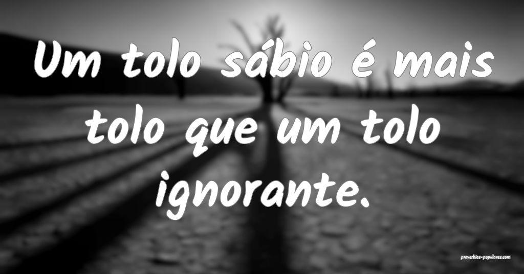 Um tolo sábio é mais tolo que um tolo ignorante. ...