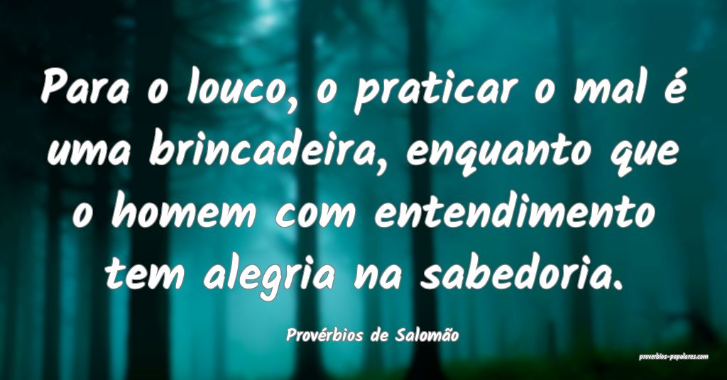Provérbios de Salomão - Para o louco, o praticar ...
