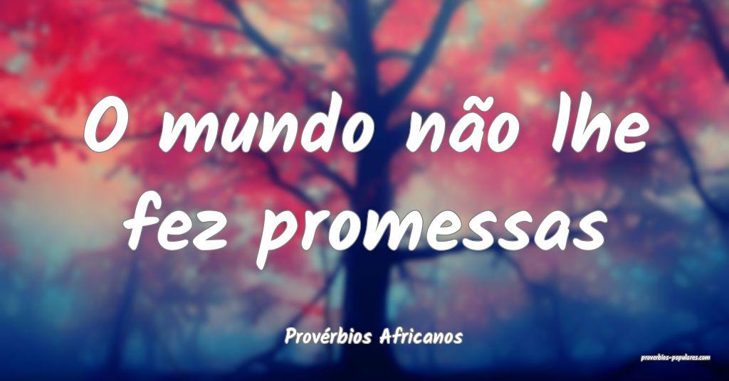 Provérbios Africanos - O mundo não lhe fez prome ...