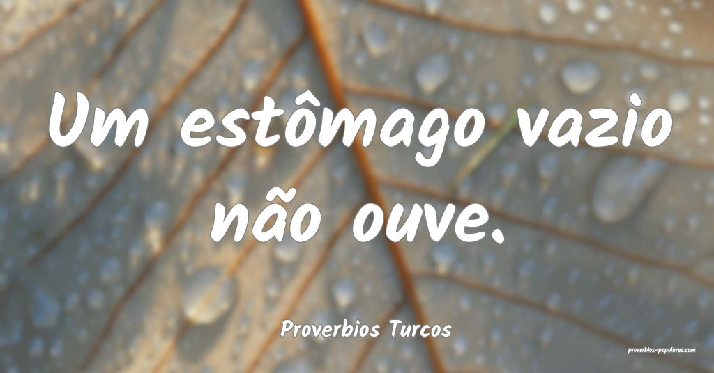 Proverbios Turcos - Um estômago vazio não ouve.  ...