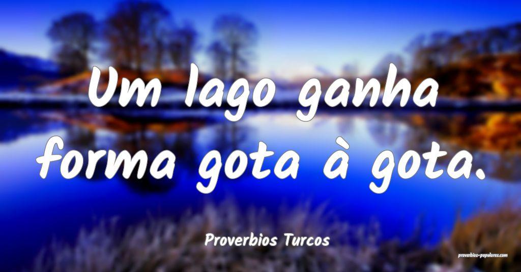 Proverbios Turcos - Um lago ganha forma gota à go ...