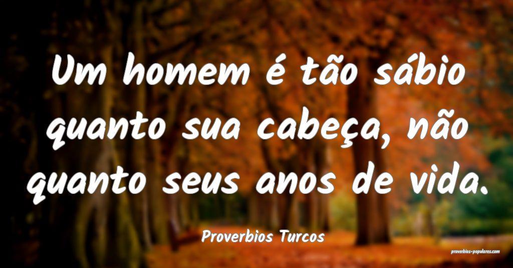 Proverbios Turcos - Um homem é tão sábio quanto ...