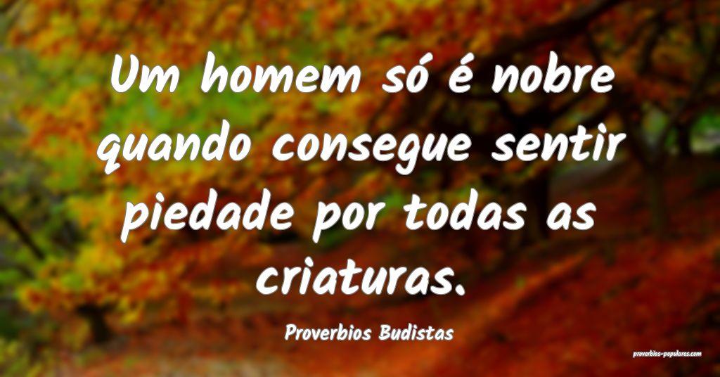 Proverbios Budistas - Um homem só é nobre quando ...