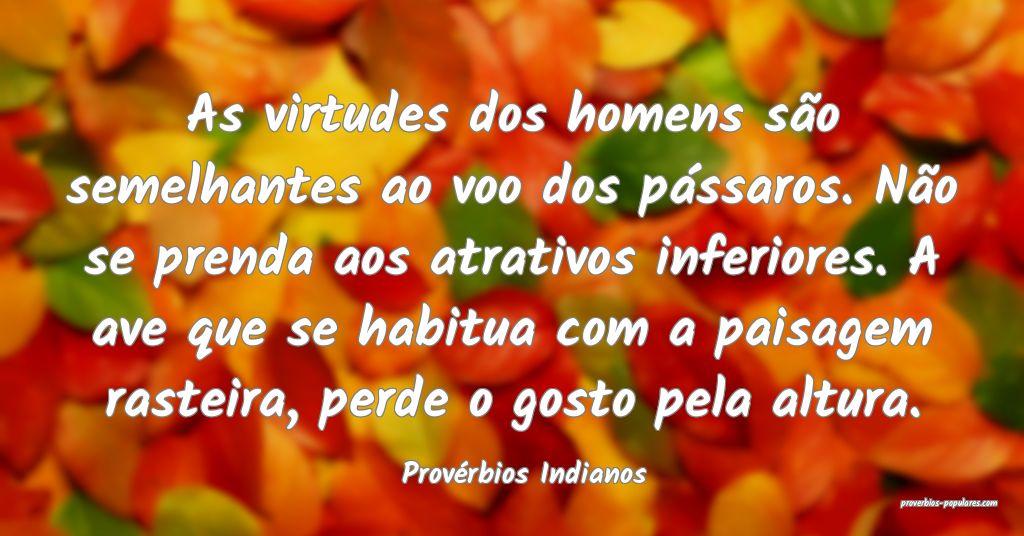 Provérbios Indianos - As virtudes dos homens são ...