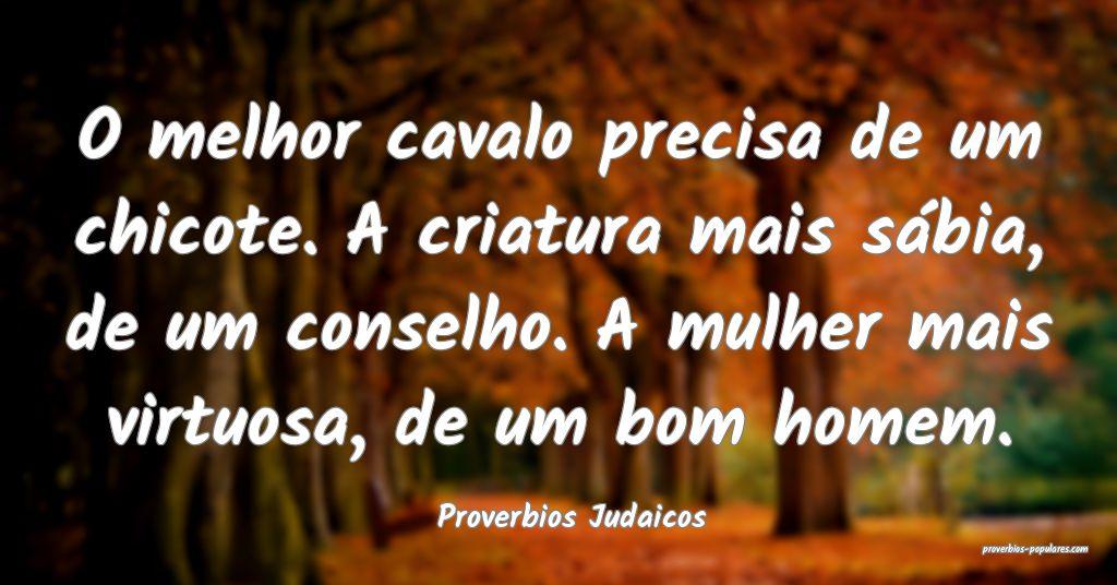 Proverbios Judaicos - O melhor cavalo precisa de u ...