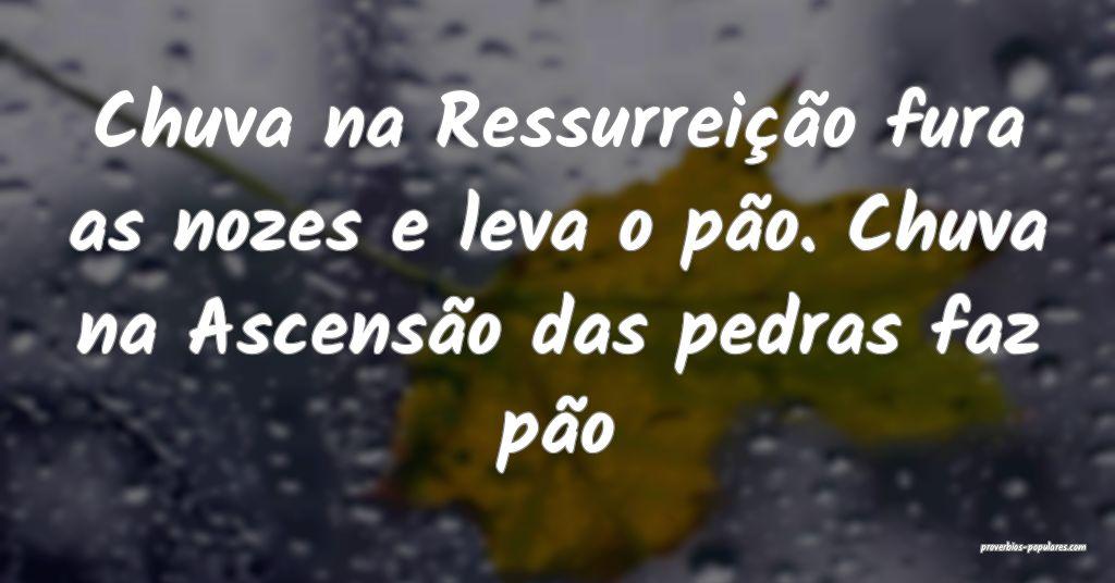 Chuva na Ressurreição fura as nozes e leva o pã ...
