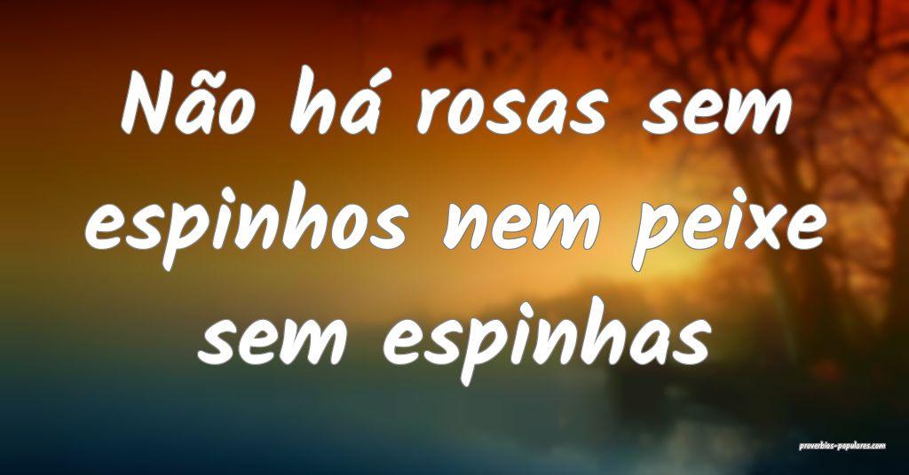Não há rosas sem espinhos nem peixe sem espinhas ...