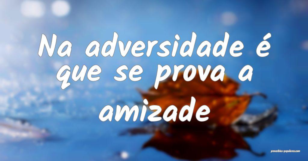 Na adversidade é que se prova a amizade   ...