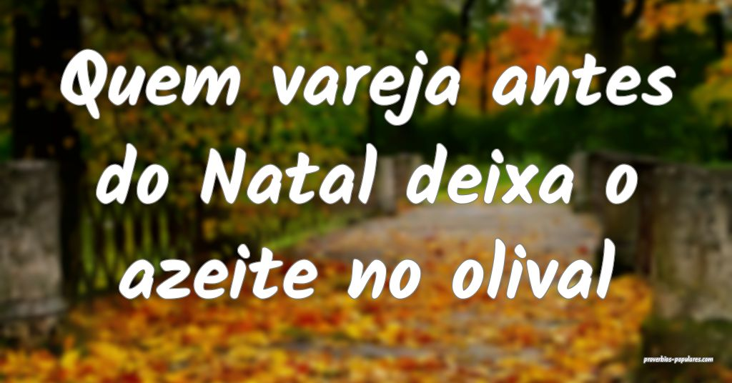 Quem vareja antes do Natal deixa o azeite no oliva ...