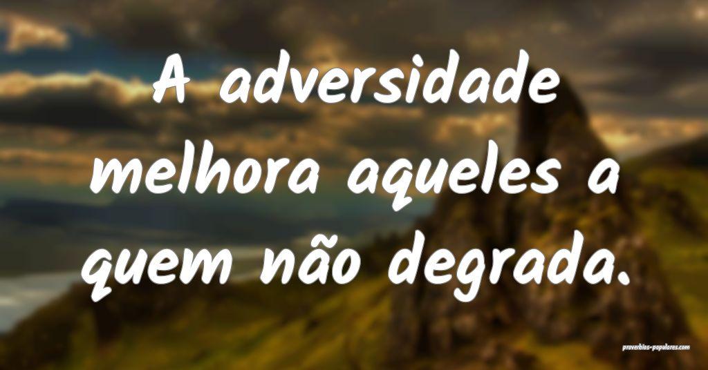 A adversidade melhora aqueles a quem não degrada. ...