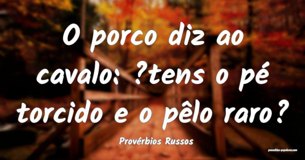 Provérbios Russos - O porco diz ao cavalo: ?tens  ...