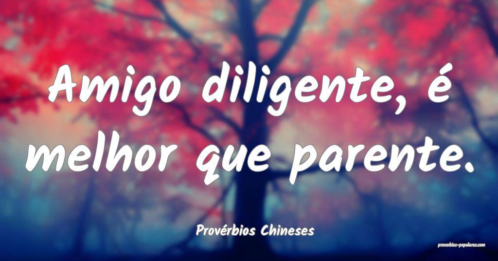 Provérbios Chineses - Amigo diligente, é melhor  ...
