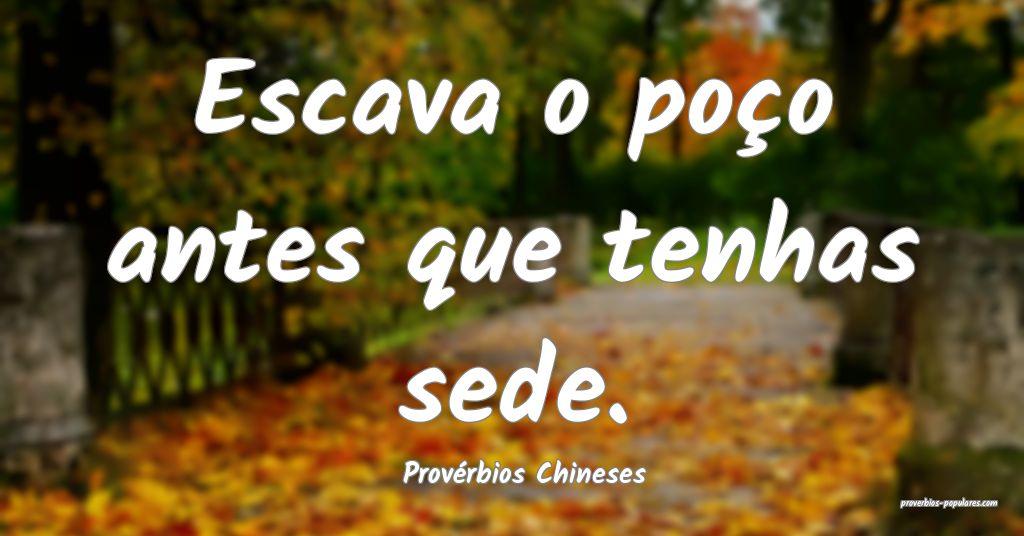 Provérbios Chineses - Escava o poço antes que te ...