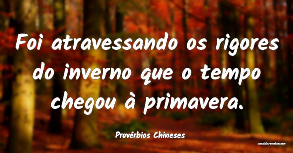 Provérbios Chineses - Foi atravessando os rigores ...