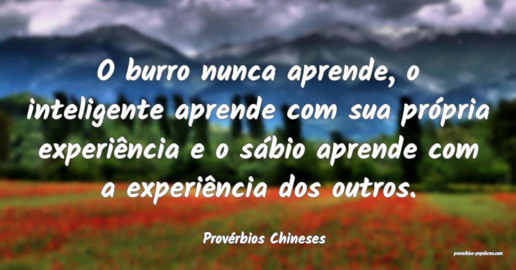 Provérbios Chineses - O burro nunca aprende, o in ...