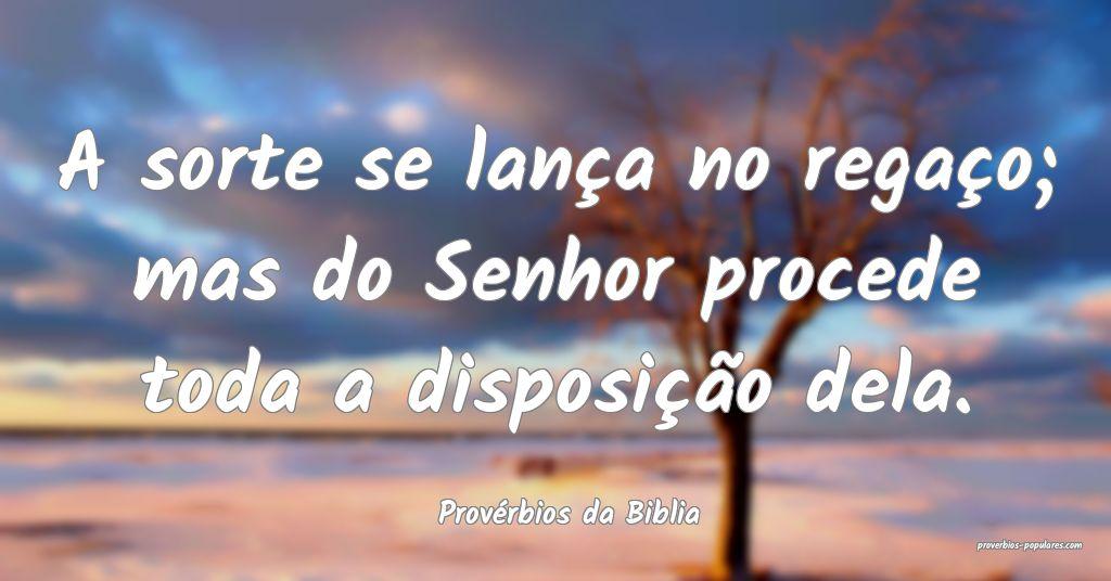Provérbios da Biblia - A sorte se lança no rega� ...