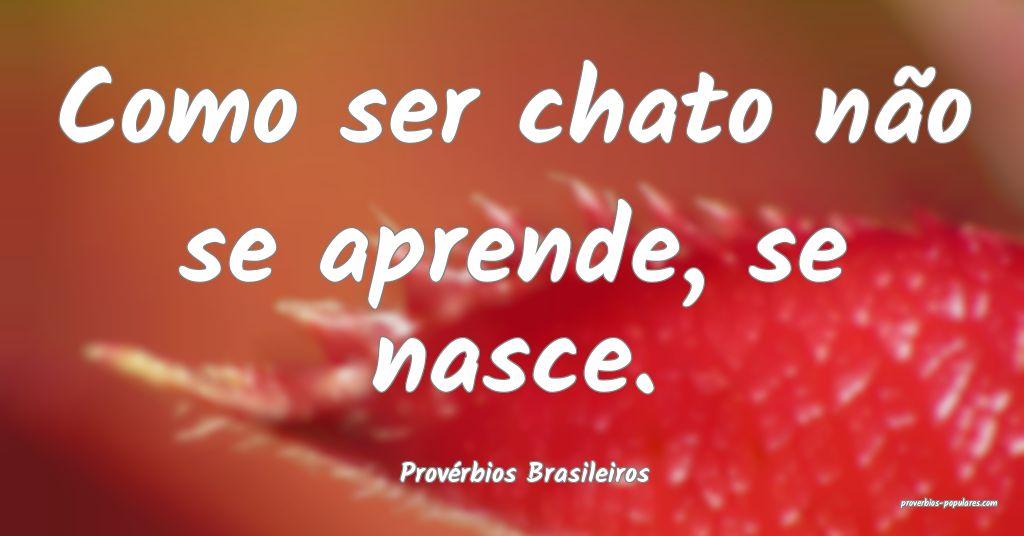 Provérbios Brasileiros - Como ser chato não se a ...