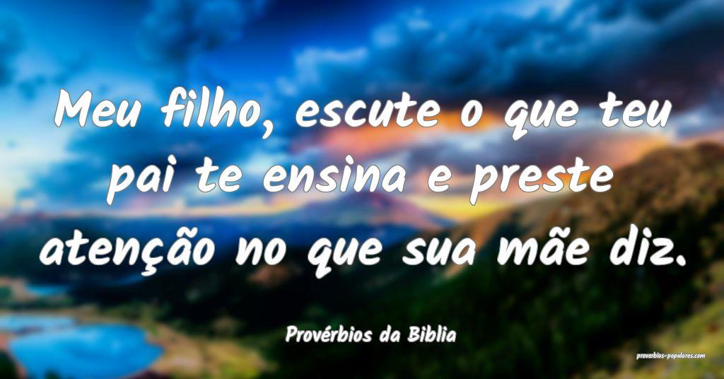 Provérbios da Biblia - Meu filho, escute o que te ...