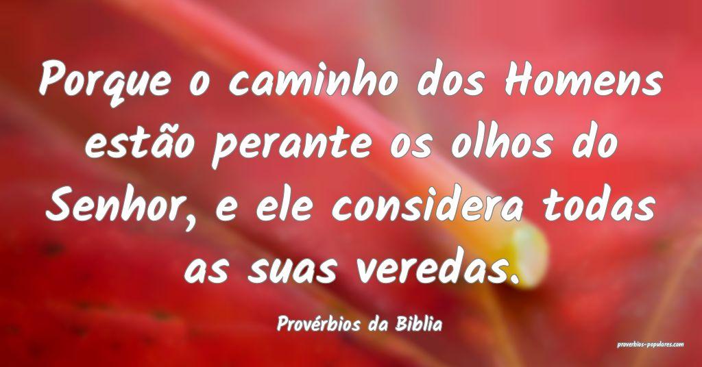 Provérbios da Biblia - Porque o caminho dos Homen ...