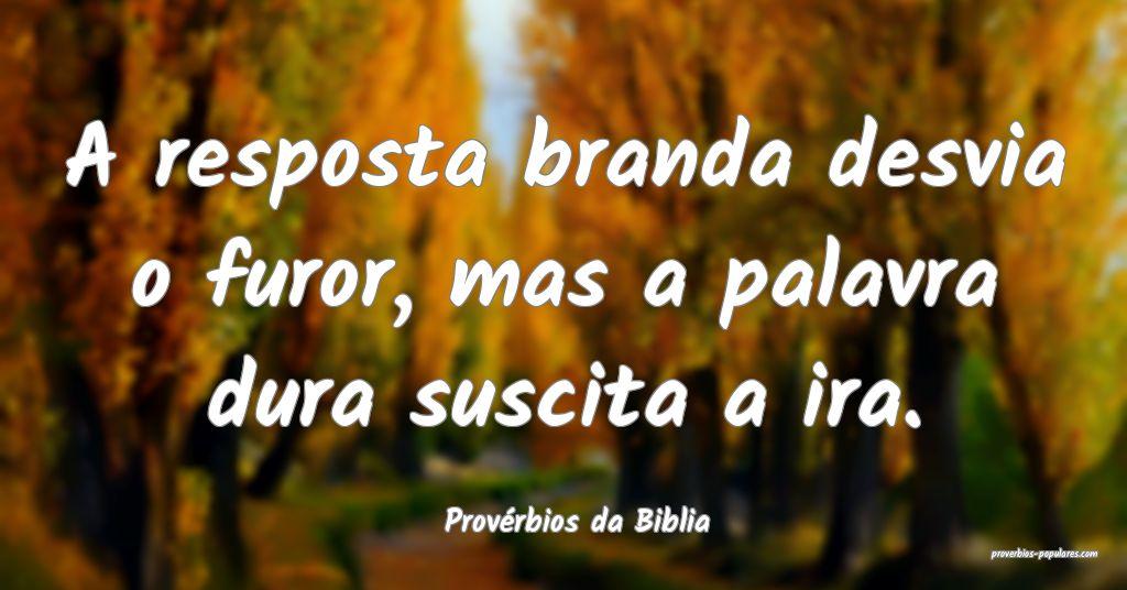 Provérbios da Biblia - A resposta branda desvia o ...