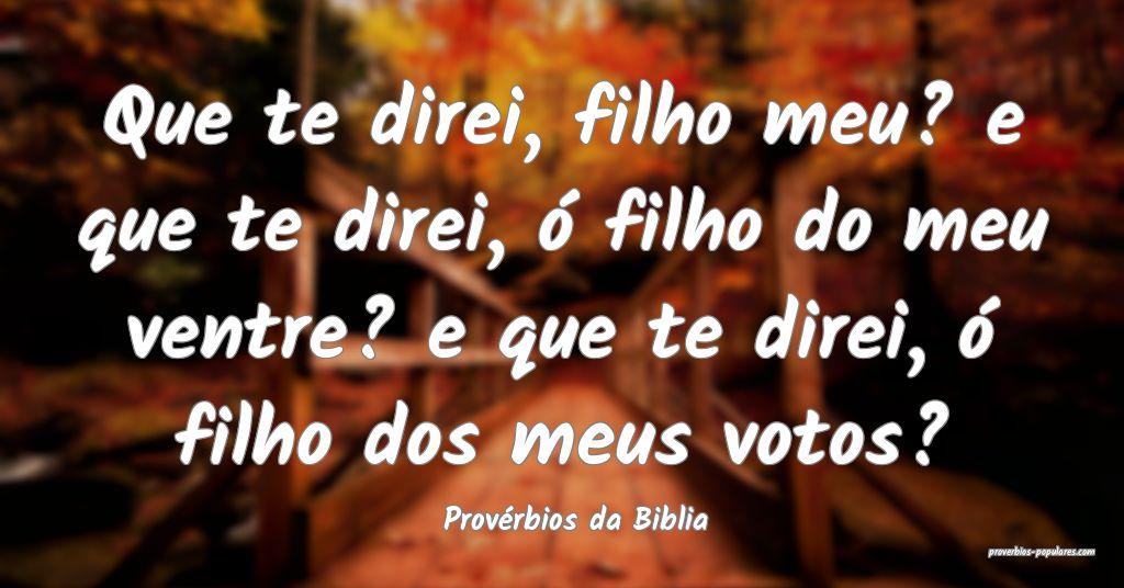 Provérbios da Biblia - Que te direi, filho meu? e ...
