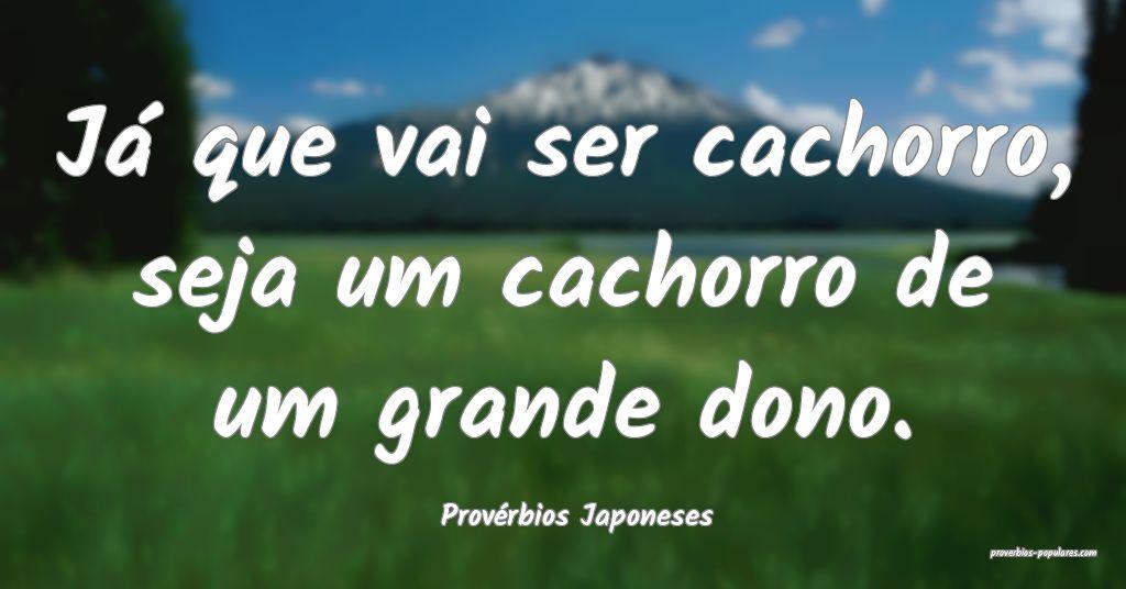 Provérbios Japoneses - Já que vai ser cachorro,  ...