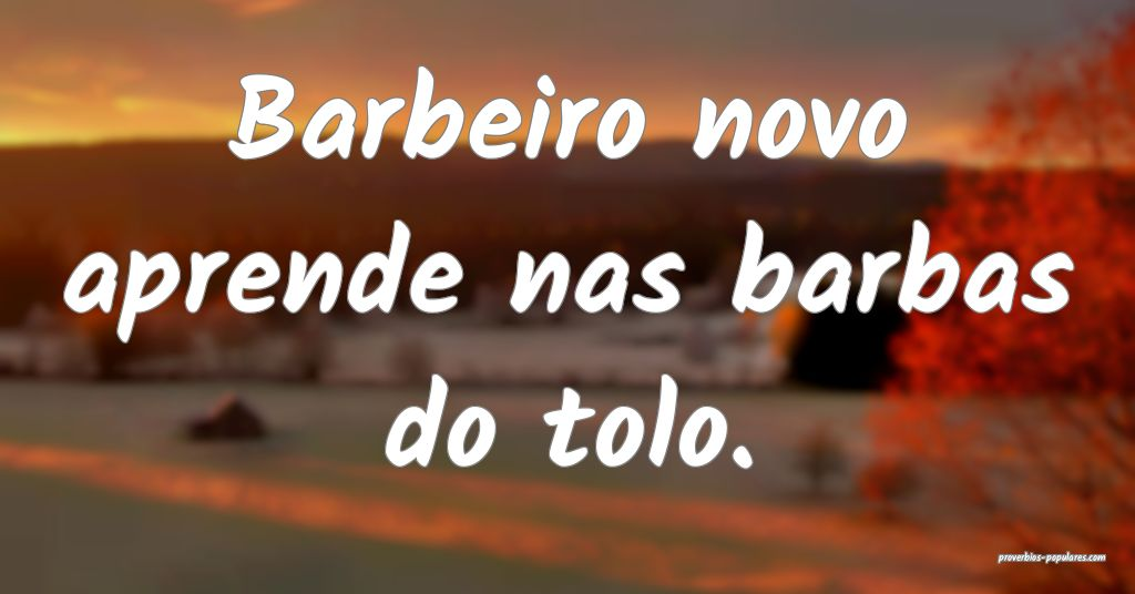 Barbeiro novo aprende nas barbas do tolo.  ...