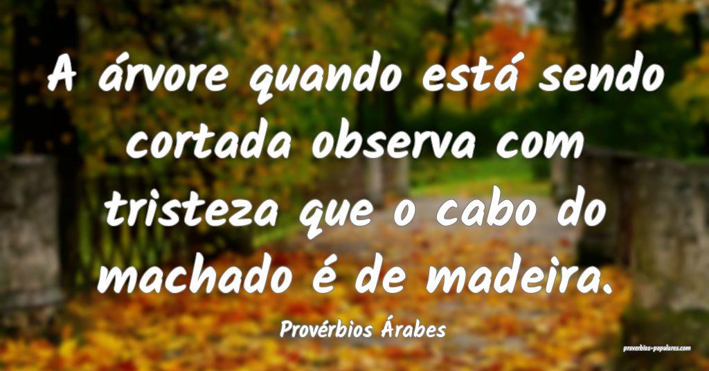 Provérbios Árabes - A árvore quando está sendo ...