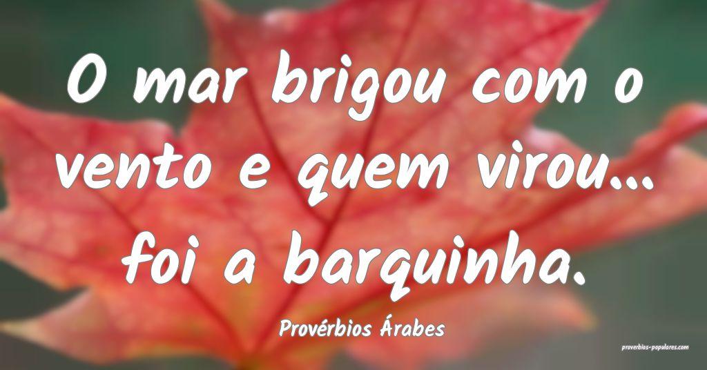Provérbios Árabes - O mar brigou com o vento e q ...
