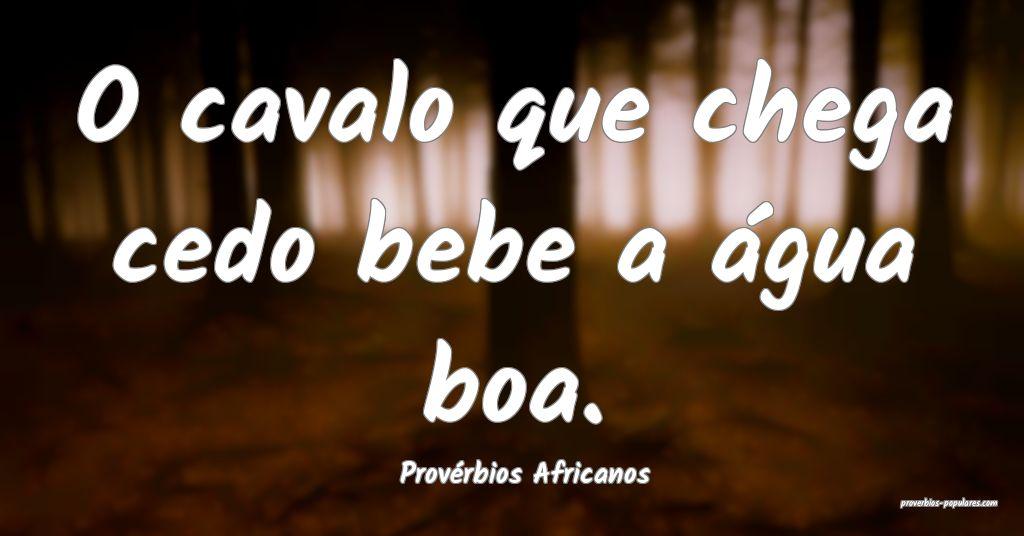Provérbios Africanos - O cavalo que chega cedo be ...