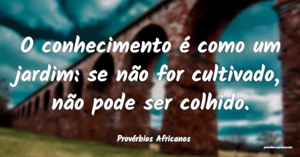 Provérbios Africanos - O conhecimento é como um  ...
