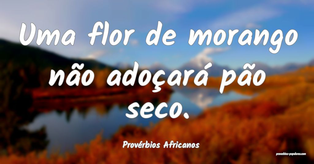 Provérbios Africanos - Uma flor de morango não a ...