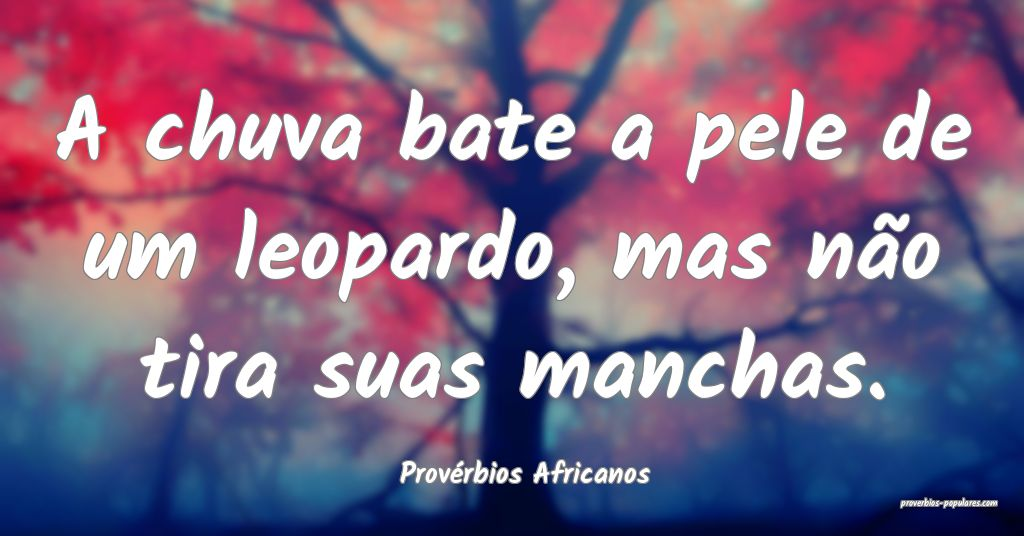 Provérbios Africanos - A chuva bate a pele de um  ...