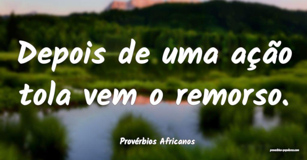 Provérbios Africanos - Depois de uma ação tola  ...