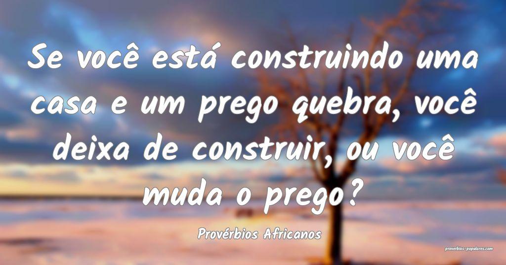 Provérbios Africanos - Se você está construindo ...