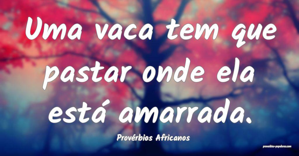 Provérbios Africanos - Uma vaca tem que pastar on ...