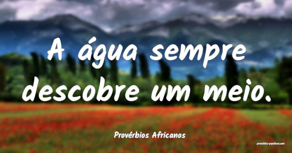 Provérbios Africanos - A água sempre descobre um ...