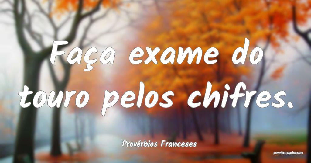 Provérbios Franceses - Faça exame do touro pelos ...